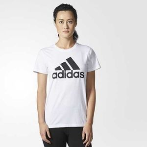 Adidas Logo White Badge Of Sport Classic Tee XS